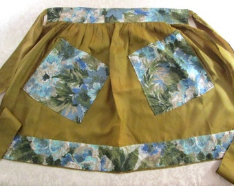 Vintage Hostess Apron Olive Green Blue Floral Retro Mid Century Kitchen Linens