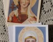 Saint Tatiana of Rome, Virgin, Marytr, Stationary Cards on White and Ivory Card Stock taken from my original Acrylic Painting, Catholic Art,