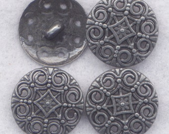Ornate Shank Buttons Lacy Filigree Sturdy Metal Buttons 18mm (5/8 inch) Set of 8/BT386