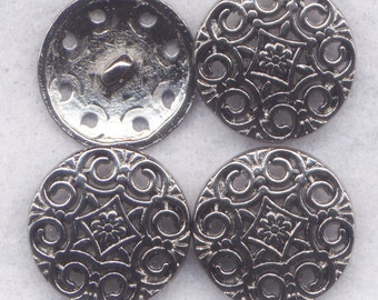 Ornate Shank Buttons Lacy Filigree Sturdy Metal Buttons 20mm (3/4 inch) Set of 8/BT383