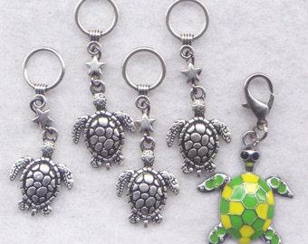 Sea Turtle Stitch Markers Seaside Enamel Charms Set of 5 /SM218