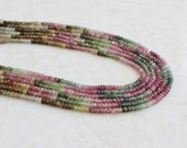 Tourmaline Gemstone Rondelle Faceted Pastel Multi 3.5mm 75 beads 1/2 strand