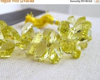 Clearance SALE Lemon Quartz Gemstone Briolette Faceted Twist Tear Drop 14 to 16mm 10 beads