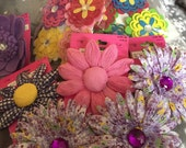 14 large flowers for hair clips