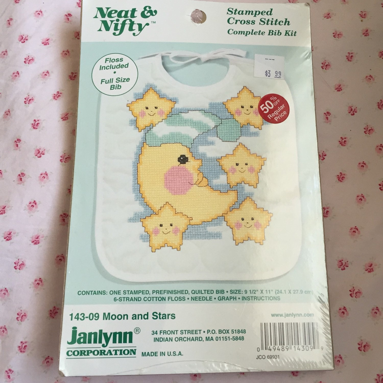 Baby bib stamped cross stitch kits