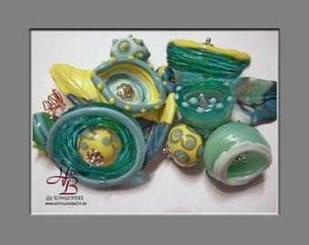 11 Beads Fantasie Flower turquoise- yellow, Lampwork Pendant, Fokal Bead, Beads, Unique pendant, Earring Beads, SRA