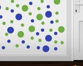 Set of 30 Lime Green / Blue Vinyl Polka Dot Wall Decals Circles Stickers (Peel & Stick Decal Circle Dots)