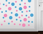 Set of 30 Pink / Ice Blue Vinyl Polka Dot Wall Decals Circles Stickers (Peel & Stick Decal Circle Dots)