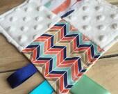 Minky Tag Blanket Feathers and Herringbone