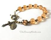 Miraculous Medal Rosary Bracelet Chaplet Peach Lampwork Bronze Holy Spirit St Benedict Single Decade Prayer Beads