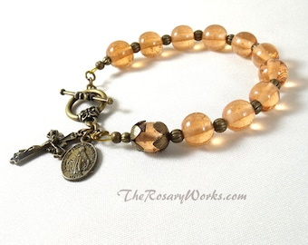 Miraculous Medal Rosary Bracelet Chaplet Peach Lampwork Bronze Holy Spirit St Benedict Single Decade Prayer Beads