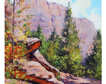 Kolob CANYON Oil PAINTING Desert Landscape Painting Traditional Art by listed Artist G.  Gercken