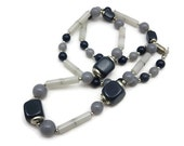 Blue Grey Beaded Necklace - Lucite, Trifari, Costume Jewelry