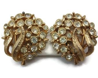 Rhinestone Flower Earrings - Vintage Emmons Costume Jewelry