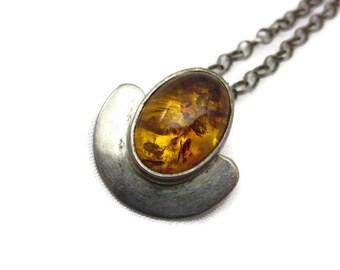 Sterling Amber Pendant Necklace - Modernist, 925 Silver Ireland