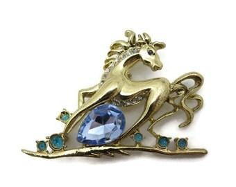 Rhinestone Horse Brooch - Gold Costume Jewelry