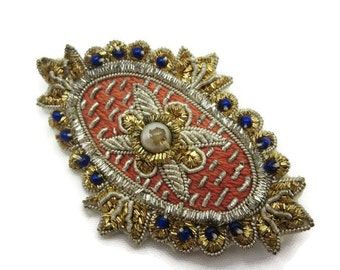Gold Bullion Brooch - Faux Pearls, Goldwork Jewelry, India