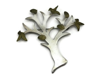 Sterling Tree Brooch - Mexico, Talleres de Los Ballesteros, Silver Jewelry, Birds