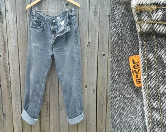 """Vintage Levi's Jeans  //  Vtg 90s Distressed Faded Trashed Black Denim Orange Tab Levi 505 Jeans  //  36"""" waist"""