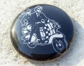 Ska Scooter Couple 1 inch button