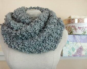 Chunky Infinity Scarf - Hand Knit Vegan Cowl in Khaki Blue Bouclé Yarn - Item 1289a