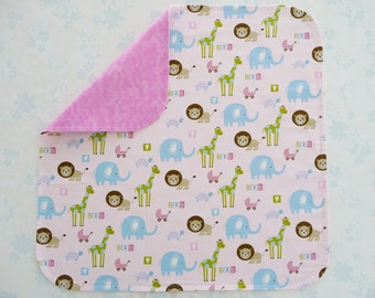 Preemie Baby Girl cotton fabric blanket - NICU approved design - cute animals on pink background, backed with premium cotton flannel in pink
