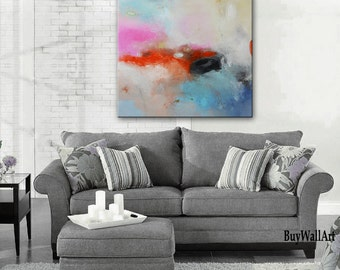 Pink and blue abstract painting, blue acrylic art, Handmade Large pink Painting, Original  Painting, Abstract painting, pink blue canvas art