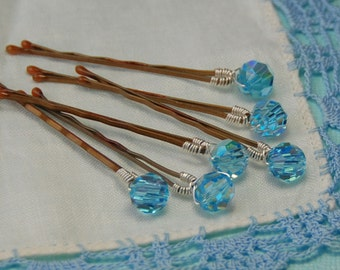 Blue Crystal Bobby Pins, Something Blue Hair Pin, Swarovski 8mm Aquamarine AB Crystals on Bronze Pins, Set of 6, Bridal Hair Pin, Wedding