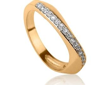 Infinity Diamonds Engagement Ring , Classic Gold Engagement Ring , Diamonds Engagement Ring , White or Black Diamonds Ring