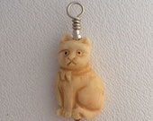 Summer Sale Cat Pendant Bone and Sterling Silver