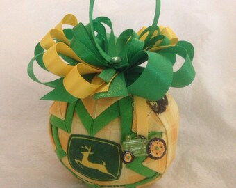 John Deere Inspired Quilted Christmas Ornament Father's Day Gift Birthday Gift