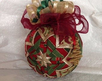 Red and Green Paisley and Stripe Quilted Christmas Ornament, Teacher Gift, Christmas Gift, Stocking Stuffer, Hostess Gift, Secret Santa