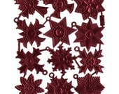 Dresdens Germany 12 Heavily Embossed Die Cut Burgundy Medallions  DF 7241 BU