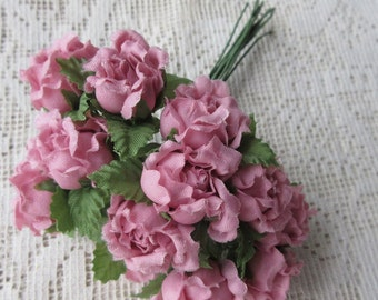 Fabric Millinery Flowers From Austria 12 Dusty Rose Austrian Roses #A36