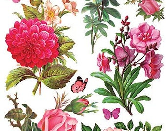 Self Adhesive Pink Flowers Stickers 1 Sheet Colorful Scrapbooking Stickers  Number C73