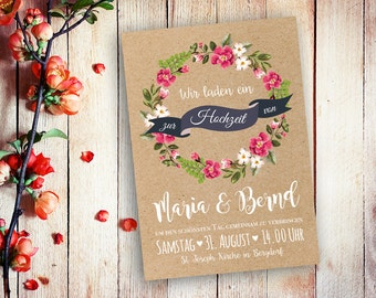 Invitation cards wedding watercolor A5