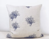 Hand Printed Linen Throw Pillow Cover / Home Decor Pillows / Tree Designs on printed Pillows