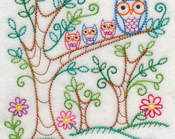 Embroidered Forest Owls Vintage Look Flour Sack Kitchen Tea Towel