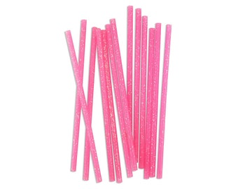 Skinny Pink Glitter Birthday Candles - 24 thin sparkly hot pink birthday cake candles