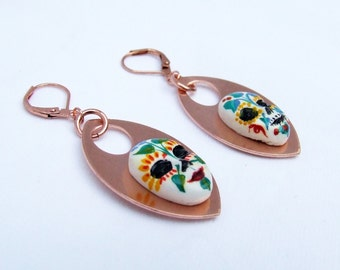 Sugar Skull Earrings, Handpainted masks for Day of the Dead on modern copper dangles, on sale