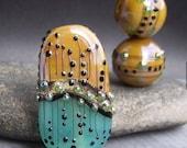 MruMru Handmade Lampwork Glass Bead Earring Pair plus Focal TRIO. Sra