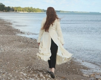 Galadriel's Handmaiden Medium Wool Free frankensweater with Riding Slit upcycled recycled gypsy coat sweater 99