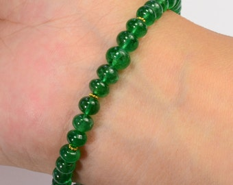 Fine Zambian Emerald Smooth Rondelle 18k Solid Yellow Gold Bracelet 8 inch