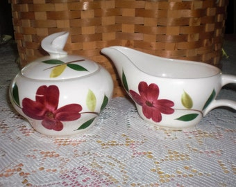 Unmarked Red Dogwood Blossom Sugar and Creamer-Stetson China