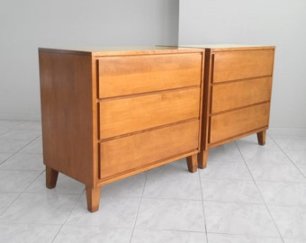 2 mid century modern RUSSELL WRIGHT for Conant Ball birch wood dressers