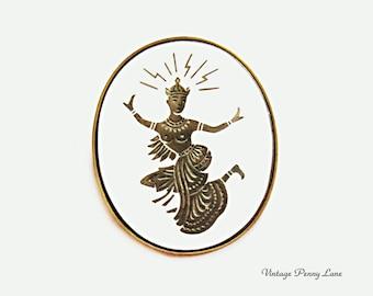 Vintage Siam Niello Damascene Enamel Goddess Dancer Brooch