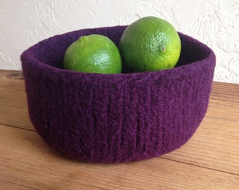 Felted Wool Bowl Plum Purple