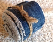 164 Inches - RECYCLE Denim Fabric  Strips - Natural Sewing