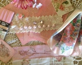 VINTAGE COLLECTION - DIY French Inspired Supplies - Pink & White Collage - Assemblage -  Vignette - Hand stamped French trim and more
