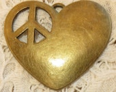 1 NEW Large Antiqued Brass PEACE sign HEART Pendant Approx. 1-1/2""